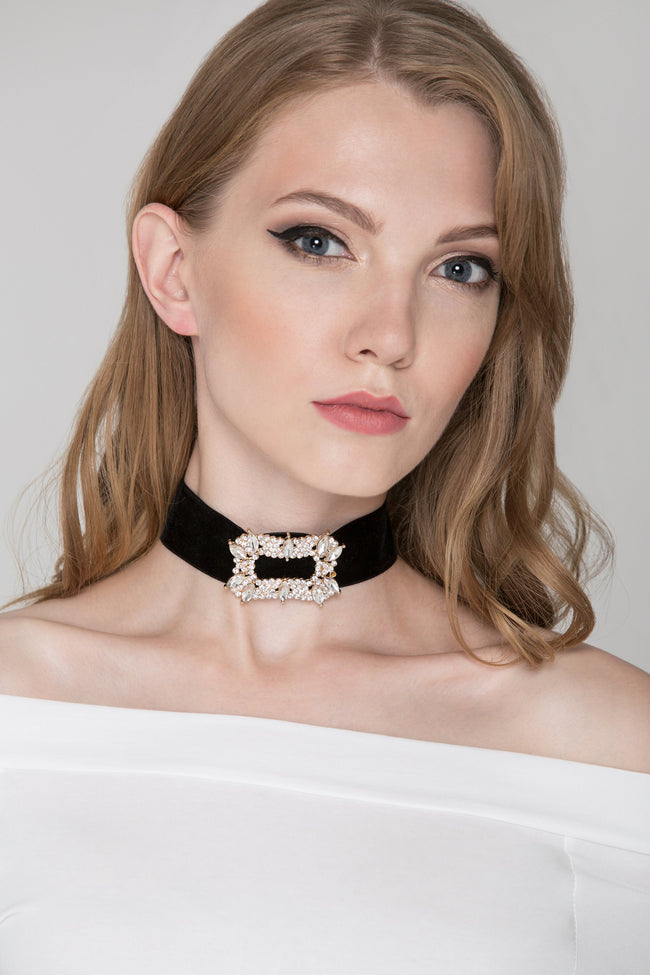 Deema Al Asadi - Black Velvet Diamond Buckle Choker Necklace