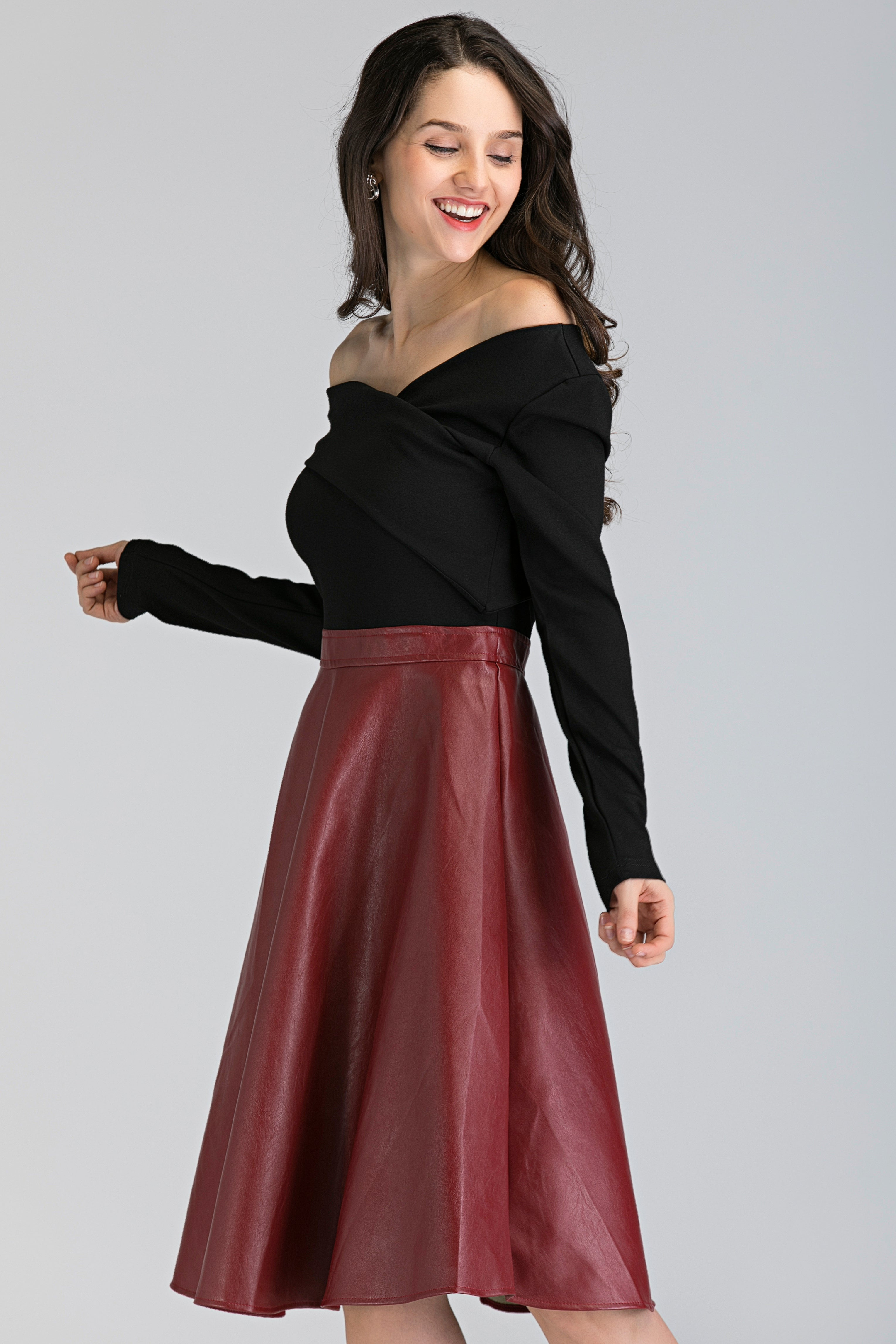 071f4e792bb1 Black and Maroon Faux Leather Skirt Midi Dress – OwnTheLooks