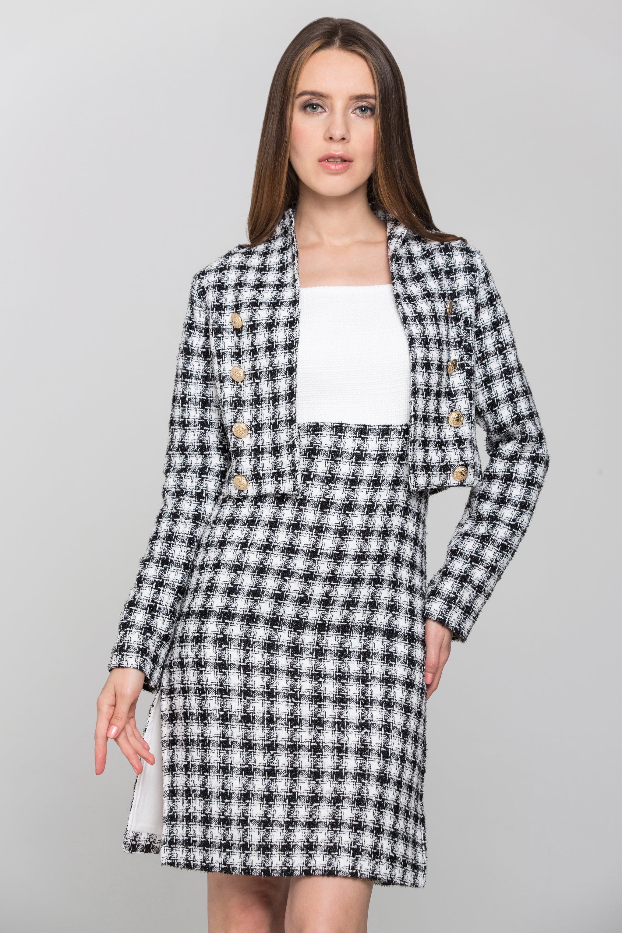 627cd247a7 Black and White Check Tweed Dress and Blazer Set – OwnTheLooks