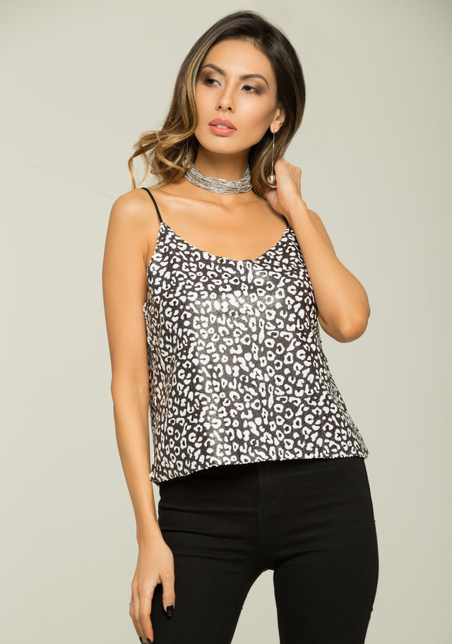 91b12c808aa2f8 OwnTheLooks. Black and White Cheetah Print Singlet Top