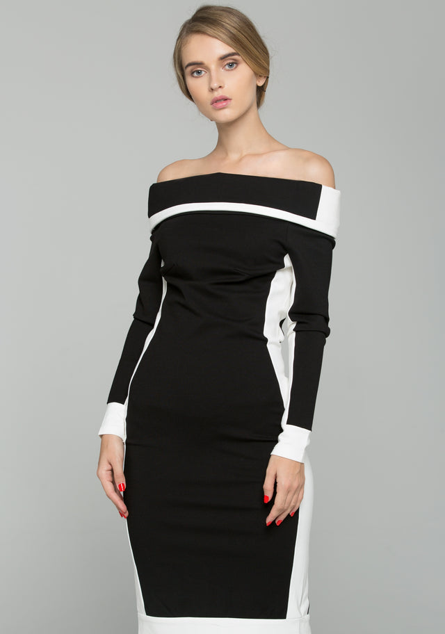66d6274ca0fa OwnTheLooks. Black and White Off-The-Shoulder Long Sleeved Midi Sheath Dress
