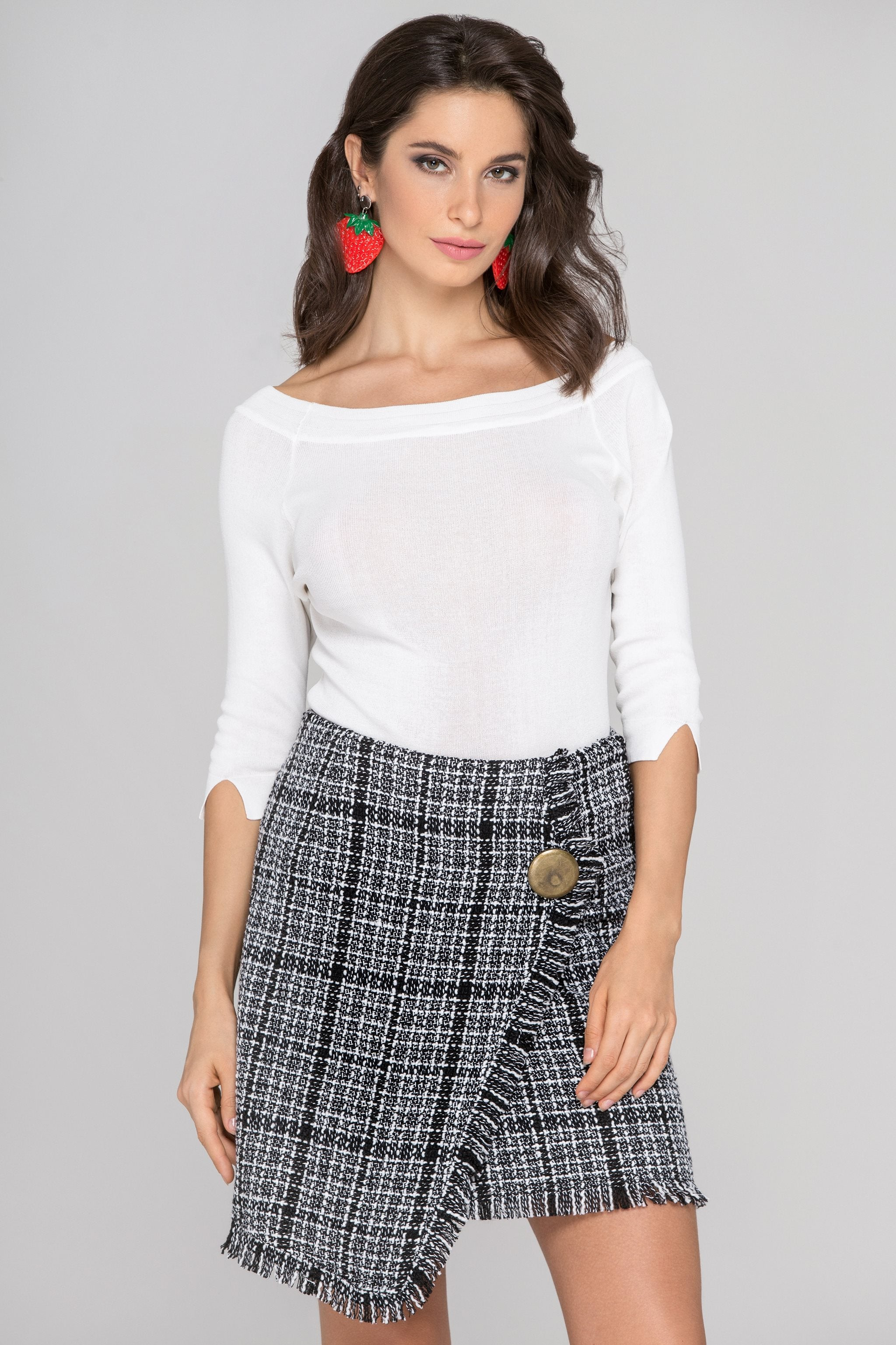 e110ee6b2b Black and White Tweed Skirt and White Top Dress Set – OwnTheLooks