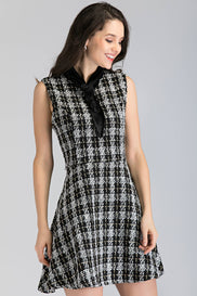 Black and White Tweed Sleeveless Midi Dress