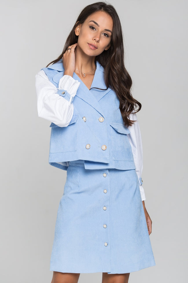 Blue Chord and White Sleeves Blazer and Skirt Set