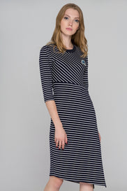 Blue Eyes Asymmetric stripe  Midi Dress