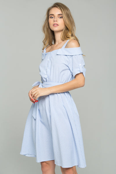 d4e72fb7933 Blue and White Striped Ribbon Strap Cold-Shoulder Collared Shirt Dress –  OwnTheLooks