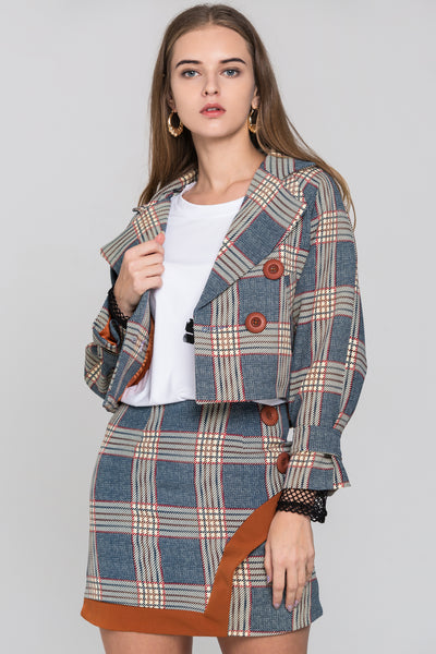 acd5288c7a Chambray and Orange Tartan Blazer and Skirt Set – OwnTheLooks