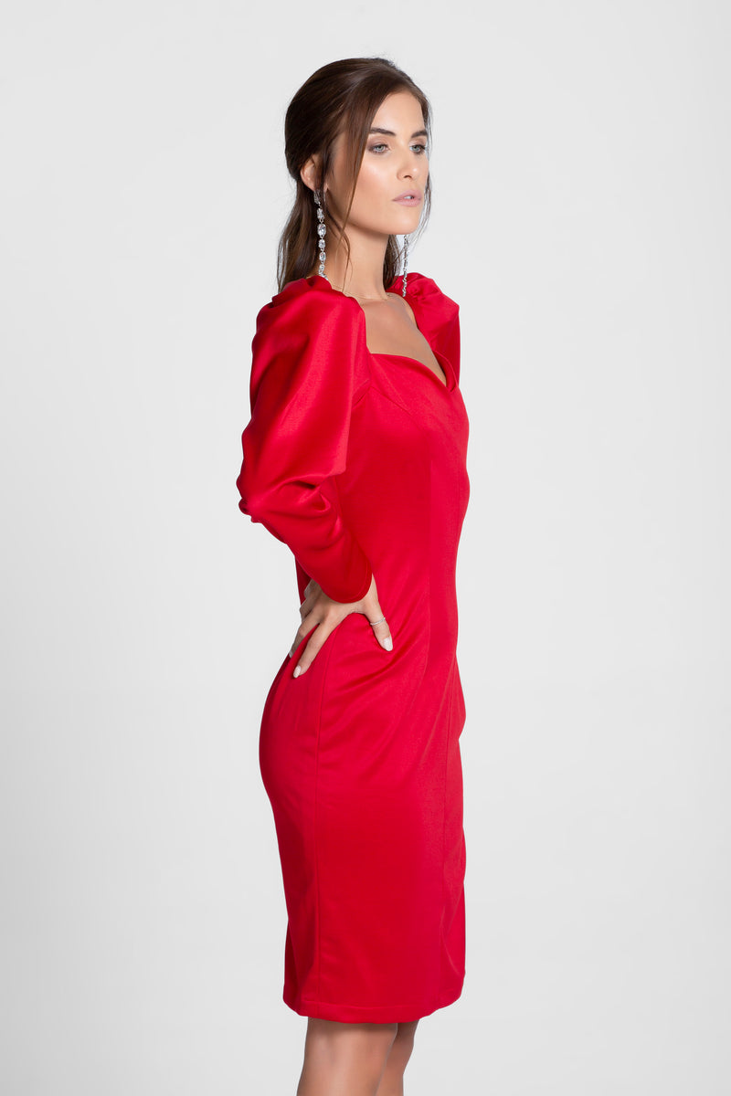 Cherry Red Sweetheart Neck Full Sleeves Midi Dress
