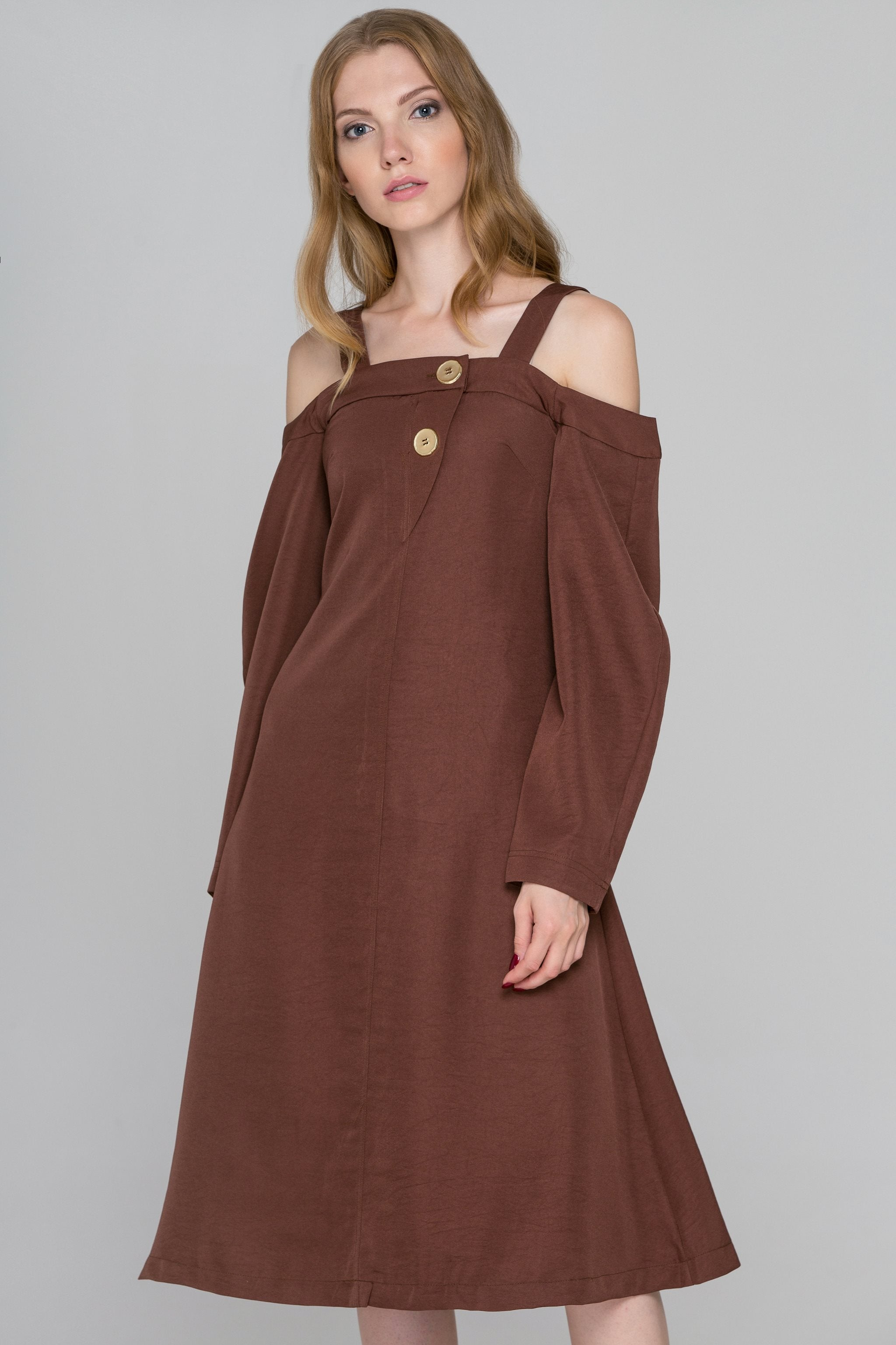 03aab9133e8f Chocolate Brown Cold Shoulder Midi Dress – OwnTheLooks