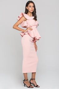e1d268591fb67 Coral Pink One Shoulder Ruffle Neoprene Midi Dress – OwnTheLooks