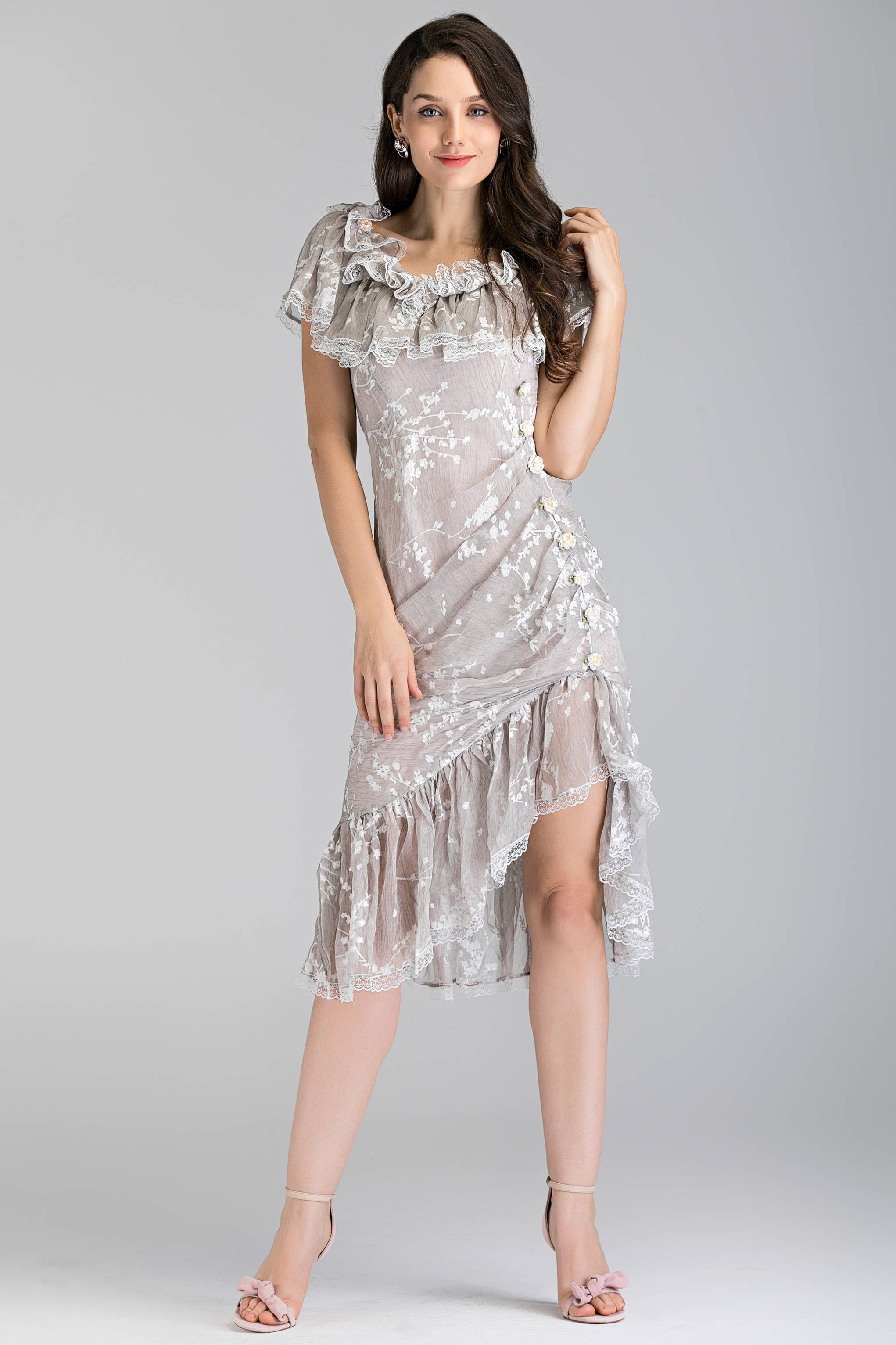 764adaee0d50d Cream Lace Ruffled off the shoulder Trumpet Midi Dress – OwnTheLooks