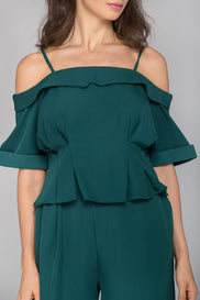 Deep Green Cold Shoulder Co-ord