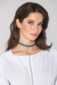 Denim Star Pearl Choker Necklace