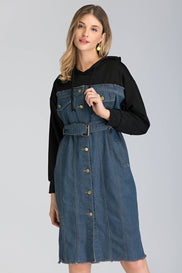 Denim and Hoodie Button Up Midi Dress