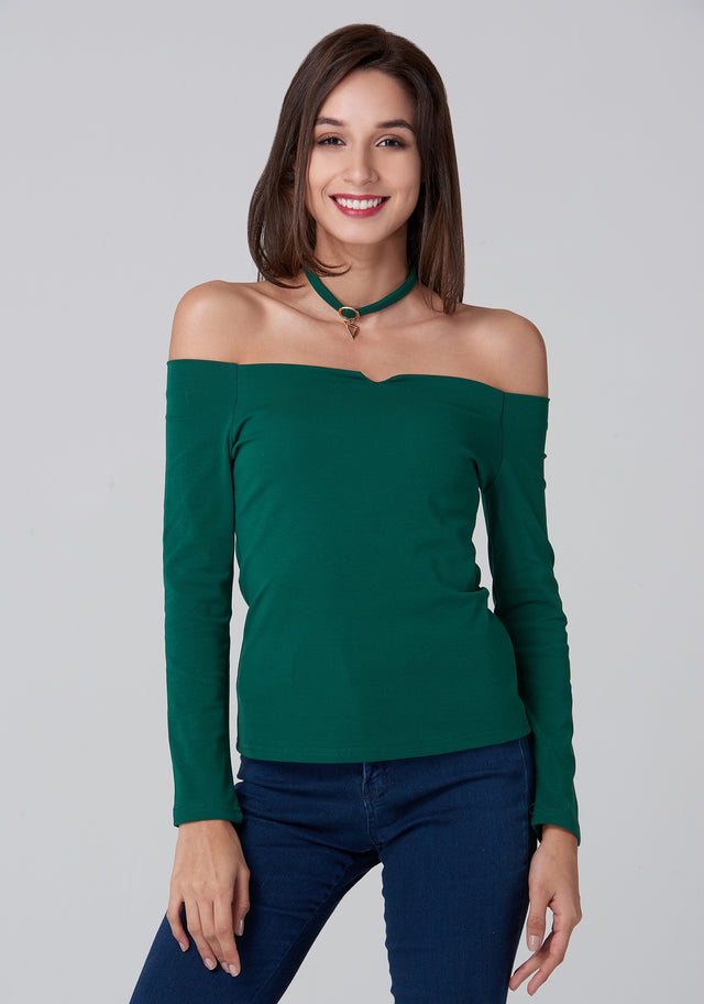 abd5a349cfc93e OwnTheLooks. Green Off the Shoulder Prism Choker Top