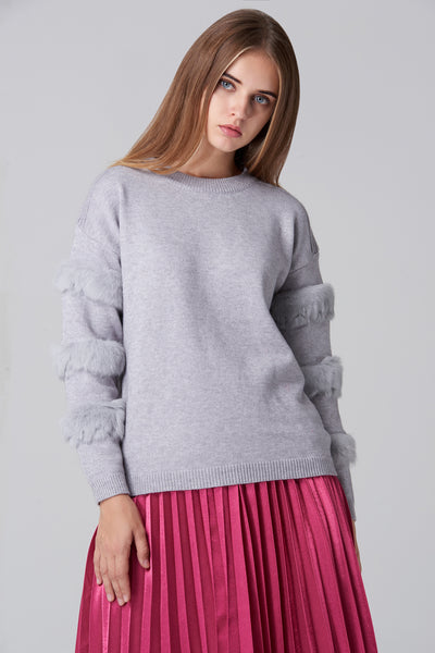 d8b6a97574edf0 Grey Fur Strip Sleeve Top – OwnTheLooks