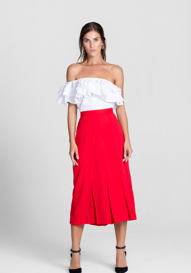 Imperial Red Pleated Midi Skirt