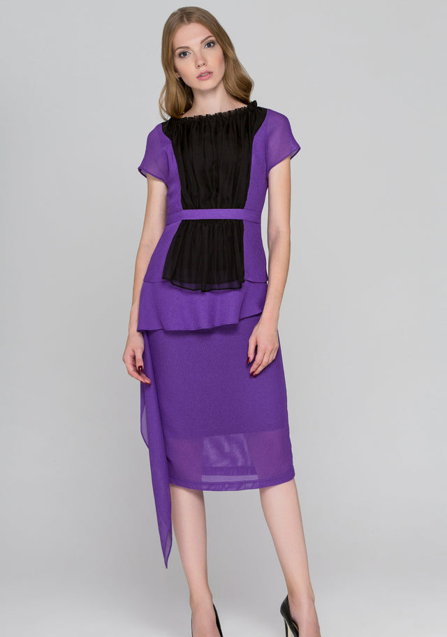 a884b55a0eaa6 Lavender and Black Tulle Front Midi Dress