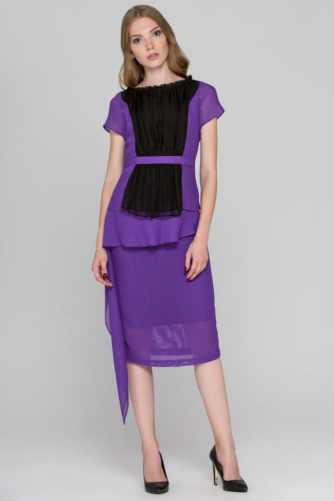 Lavender and Black Tulle Front Midi Dress