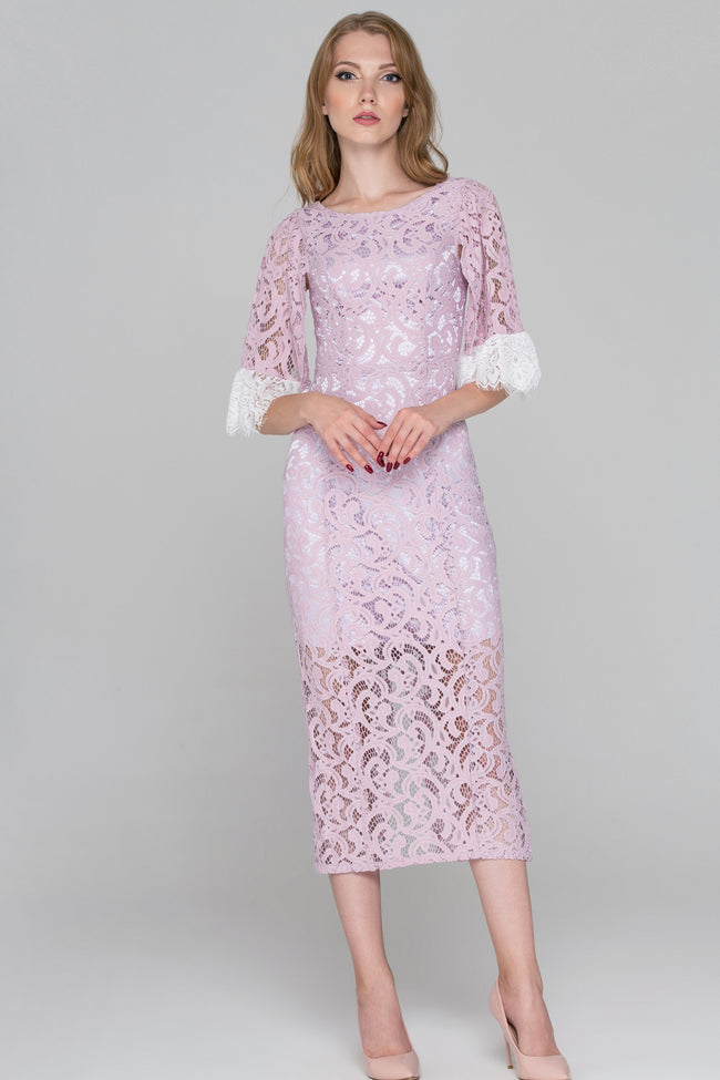 Lilac Lace Sleeved Midi Dress