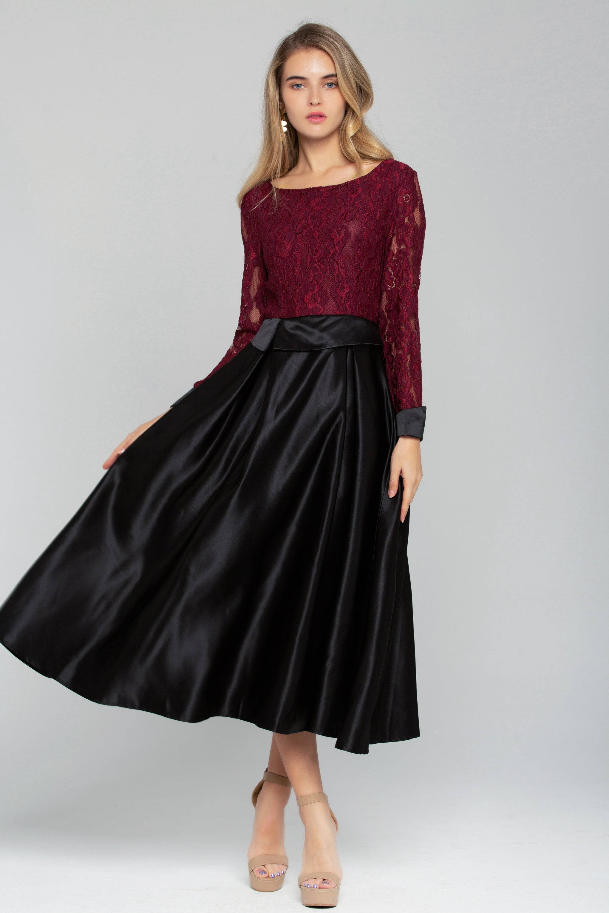 97dc183212063 Maroon Lace Top with Black Maxi Skirt Dress – OwnTheLooks