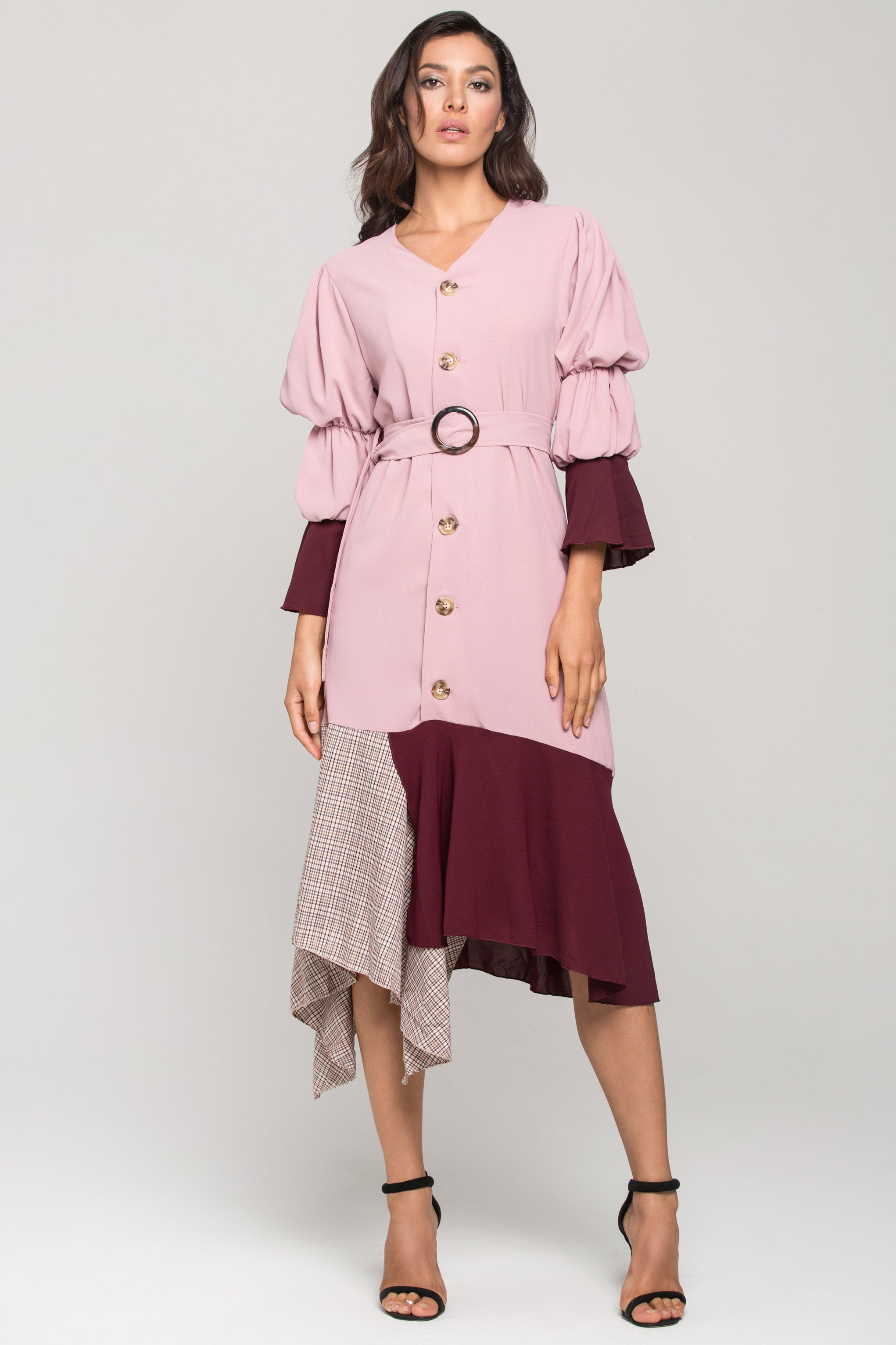 4023da410ad62 Mauve Puff Bell Sleeves Check Panel Midi Dress – OwnTheLooks