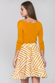 Mustard Bow and Stripe Print Skirt Two Piece Mini Dress
