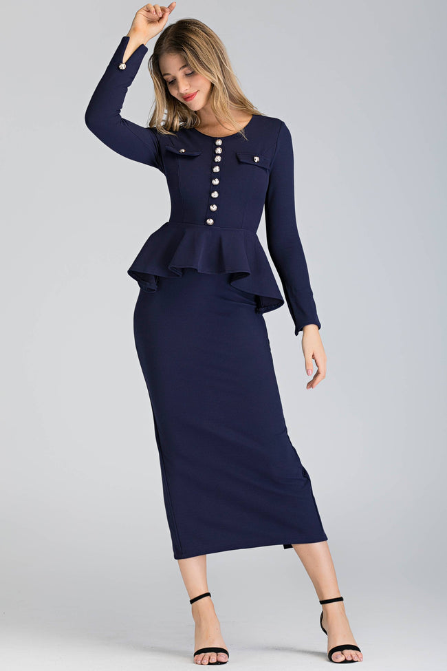 Navy Blue Sleeved Peplum Maxi Sheath Dress