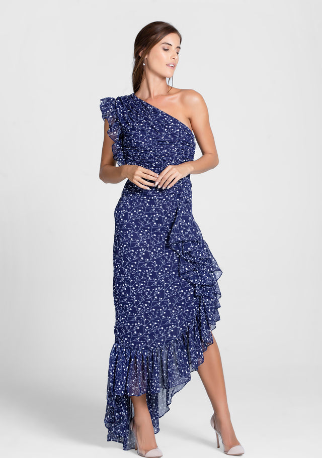 Navy Blue White Floral One shoulder Ruffle Midi Dress