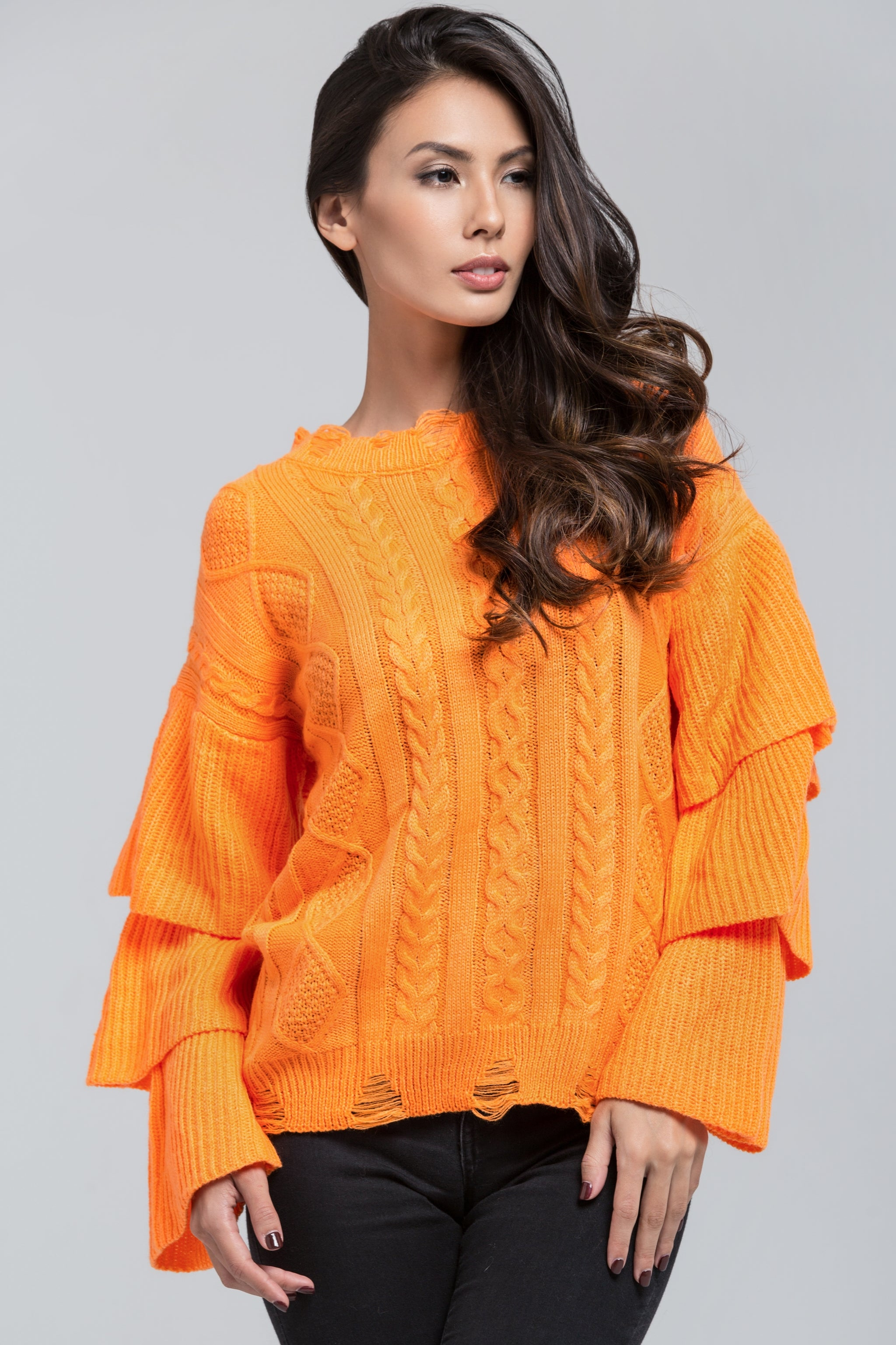Neon Orange Knit Ruffle Sleeve Sweater. Hover to zoom 8f46da3a1