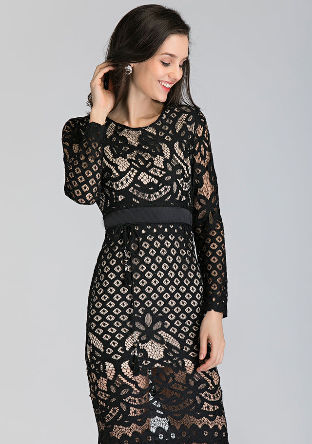 58182730a57 Nude and Black Lace Slit Mini Dress