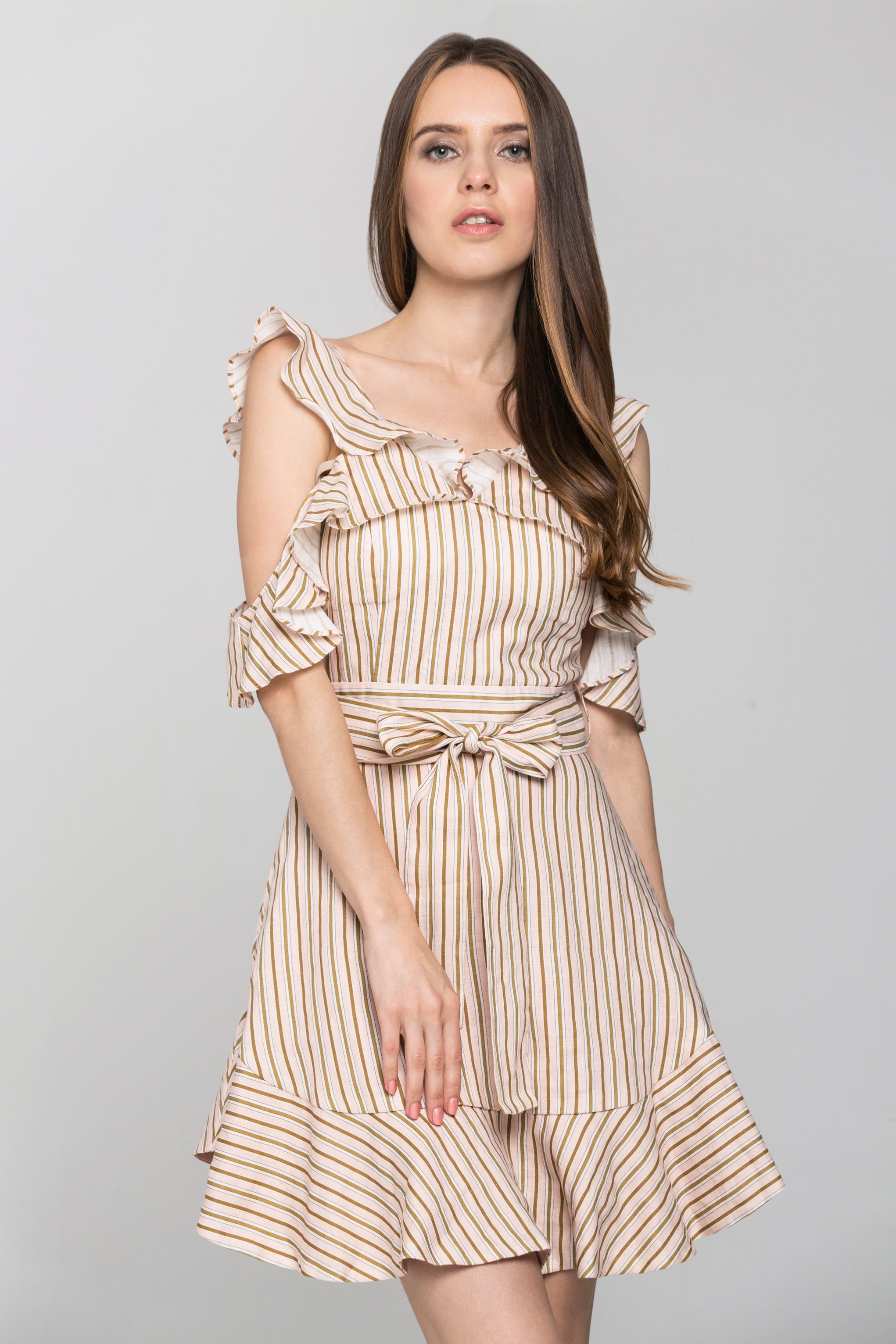 72751898b590 Peach and Brown Stripe Halter Ruffle Midi Dress – OwnTheLooks