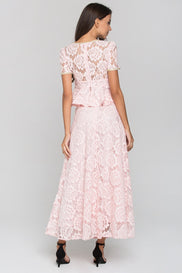Pink Velvet Flower Lace Midi Dress