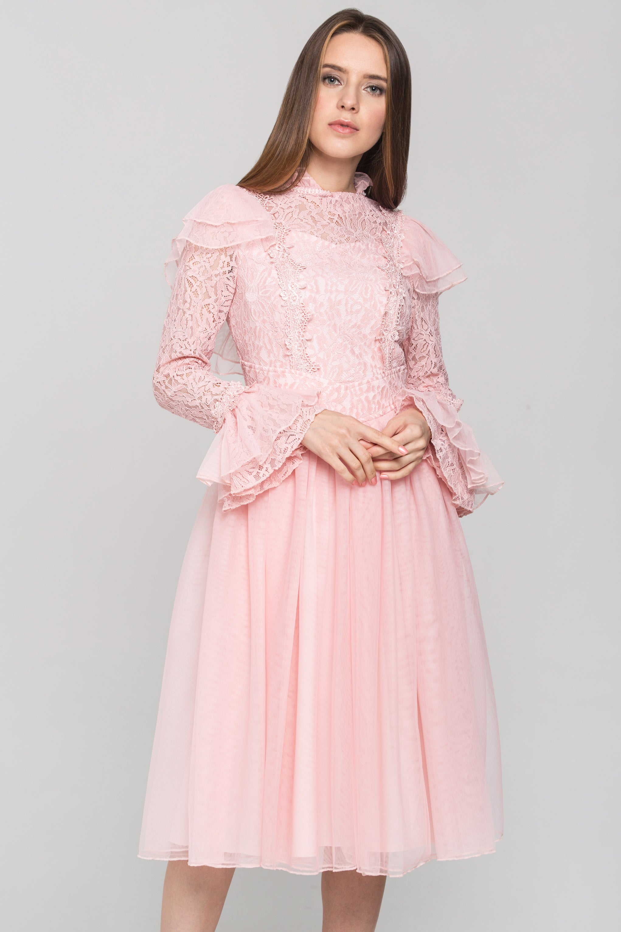 ad1663feeed82 Pink Vintage Ruffle Lace Midi Dress – OwnTheLooks