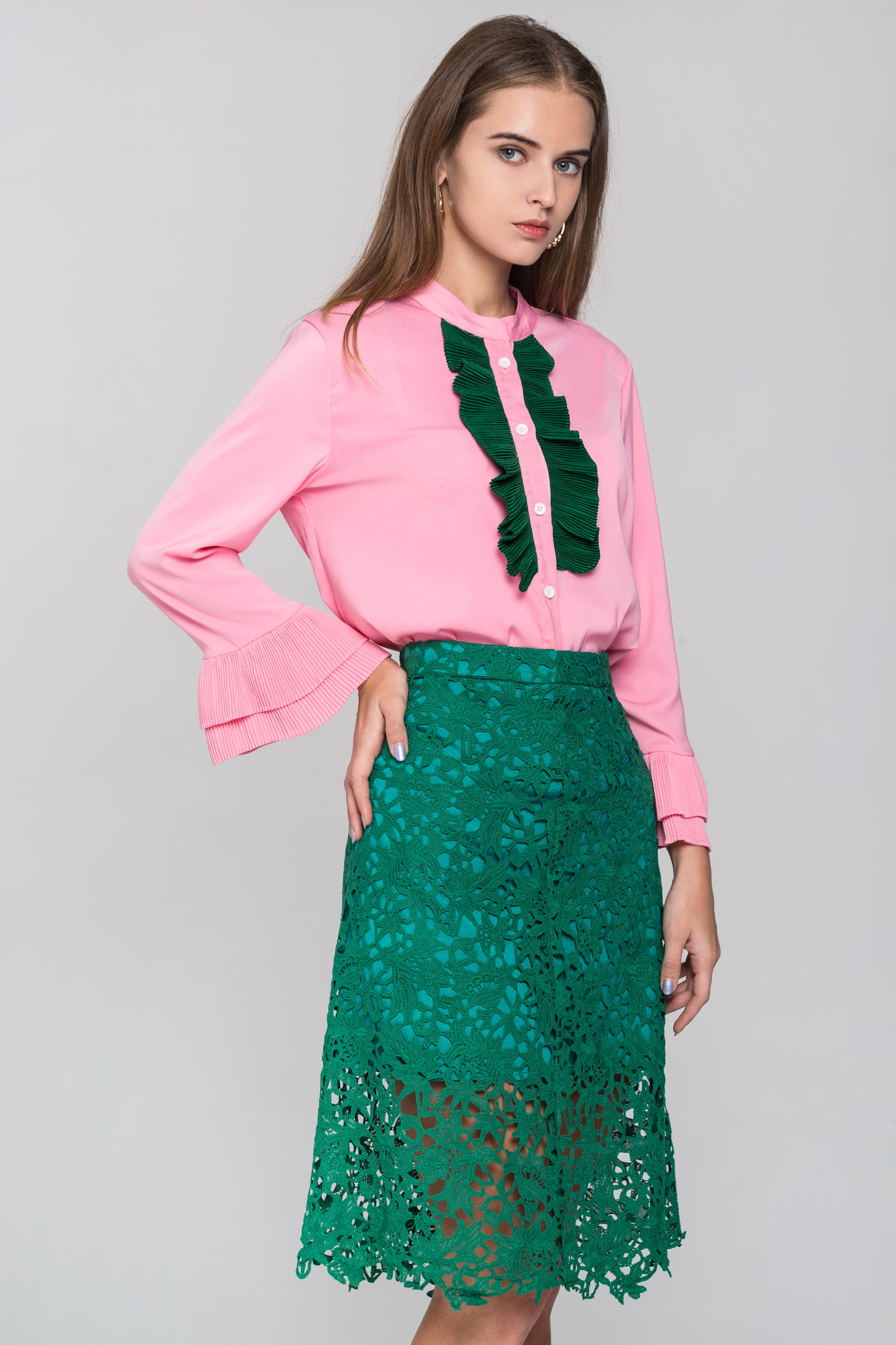 6d4f5061a70 Hover to zoom · Pink and Green Ruffle Front and Lace Skirt Set