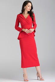Red Collared Peplum Maxi Dress