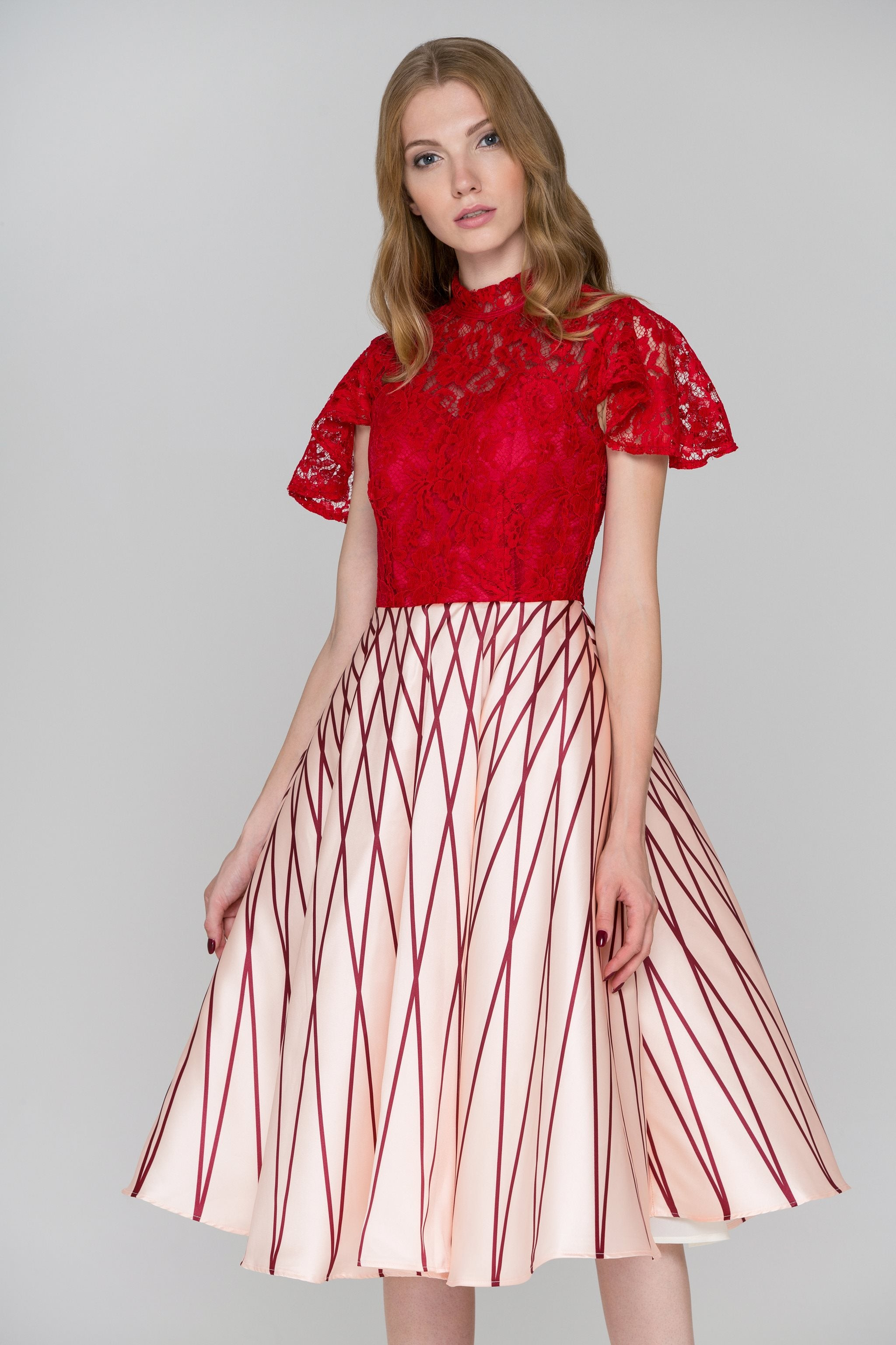 Red Lace Peach Skirt Midi Ball Gown Dress – OwnTheLooks