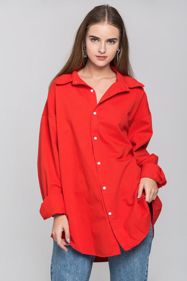 Red Oversized Button Up Shirt Top