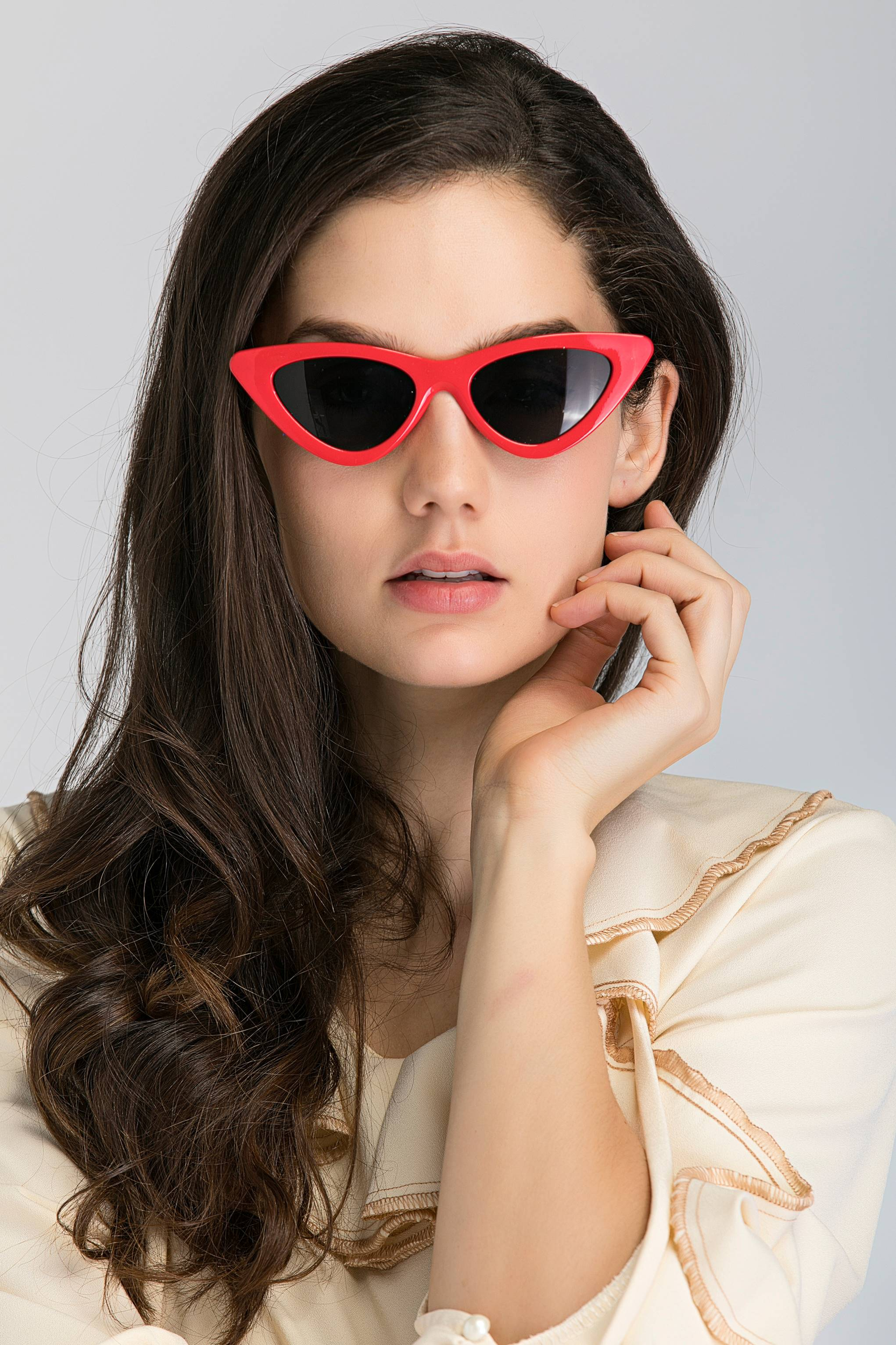 20d43a58c9 Red Vintage Slim Pointy Cat Eye Sunglasses
