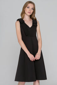 Ribbed Black Bow Princess Midi Dress