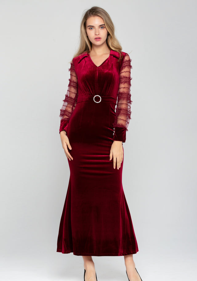 86c72080248 Rich Red Velvet Sheer Ruffle Sleeve Maxi Dress