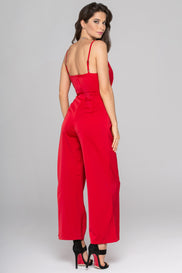 Ruby Red Silk Jumpsuit