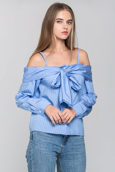 01751113bc2 Sky Blue Pin Stripes Cold Shoulder Tie Bandeau Top – OwnTheLooks
