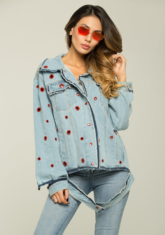 5e74e319538240 OwnTheLooks. Sky Blue Red Ring Denim Jacket