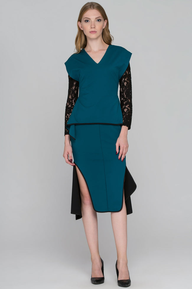 Teal Green Black Lace Sleeve Midi Dress