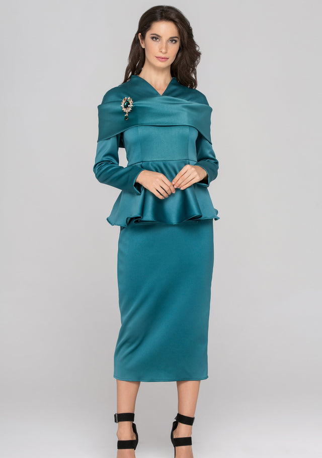 Blue Green Sleeved Satin Peplum Midi Dress