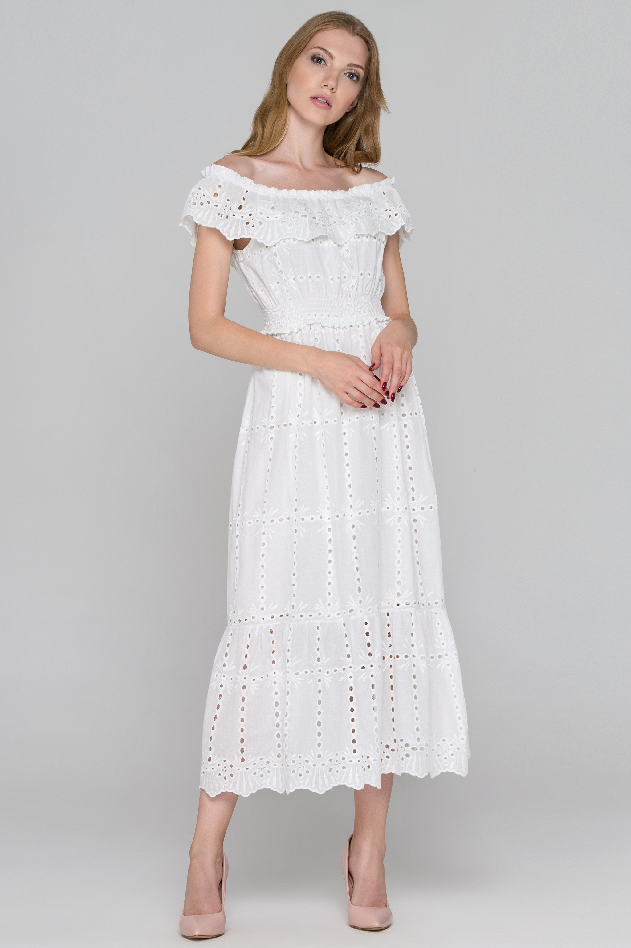 405cb281fa6 White Eyelet Cotton Off-the-Shoulder Midi Dress – OwnTheLooks