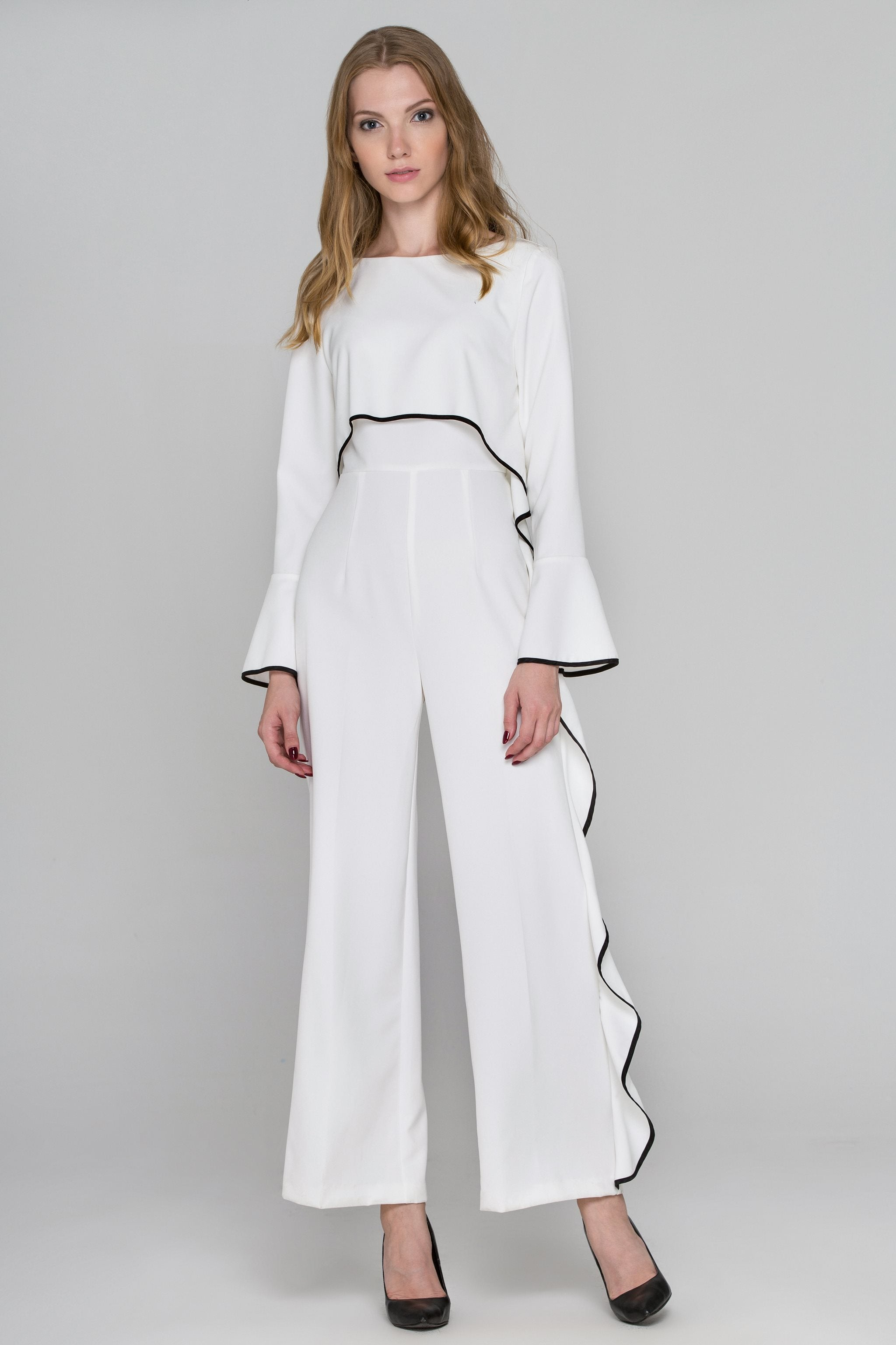 d3a6dbb24d9 White Flare Sleeve Cascade Ruffle Jumpsuit – OwnTheLooks