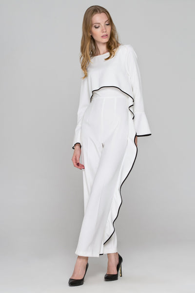 205a3c88affa2 White Flare Sleeve Cascade Ruffle Jumpsuit – OwnTheLooks