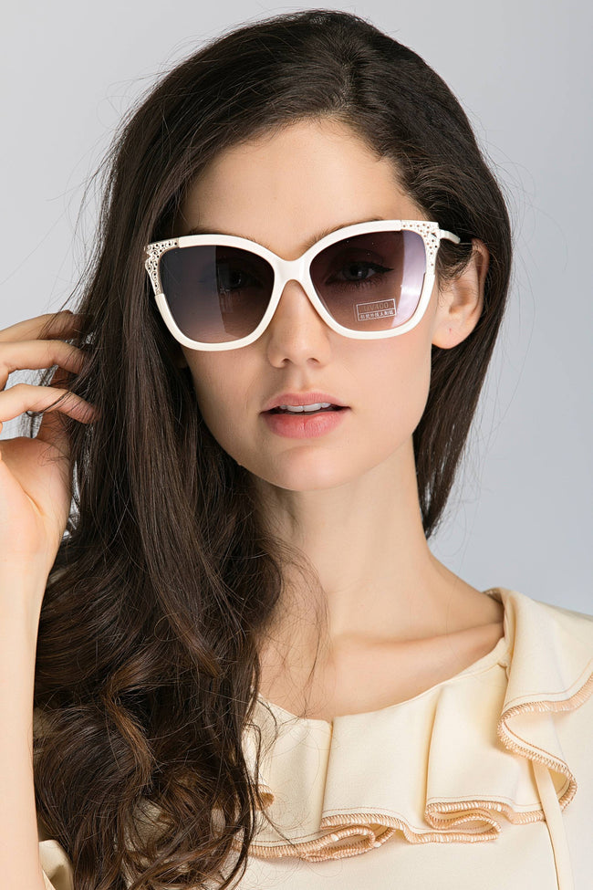 White Metal Tip Cat Eye Sunglasses